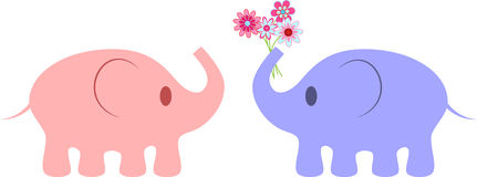 Pink and Purple Elephants Illustrations. Pink and purple elephant illustrations with pink flower bouquet, mammals, flower bouquet, animals, fauna Royalty Free Stock Photography