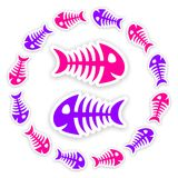 Pink and purple fish bone stickers. Background with blue and gray fish bone stickers with shadow Stock Photos