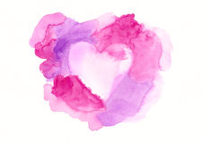 Pink and purple framed heart watercolor painting Royalty Free Stock Photography