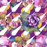 Pink and purple gardania. Floral botanical flower. Seamless background pattern. Fabric wallpaper print texture. Aquarelle wildflower for background, texture stock illustration
