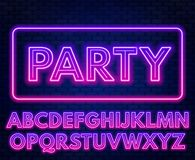 Pink purple gradient neon alphabet on a dark background . Bright font for decoration.Capital letter. Pink purple gradient neon alphabet on a dark background royalty free illustration