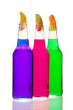 Pink purple green bottles Stock Image