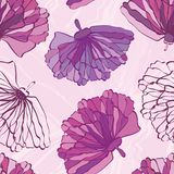 Pink and purple hand drawn flowers with featured unfinished blossom. Seamless vector pattern on marbled background vector illustration