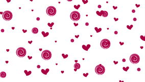 Pink purple hearts and circles on white background stock video