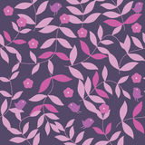 Pink and Purple Leaves Seamless Pattern_eps. Illustration of purple pink colors leaves, flowers and bird seamless pattern Royalty Free Stock Photography