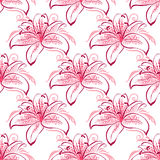 Pink and purple lilies seamless pattern Royalty Free Stock Photos