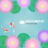 Pink purple lotus flowers and carp fish in basin water background Royalty Free Stock Images