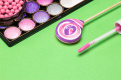 Pink and purple make up products Royalty Free Stock Photography