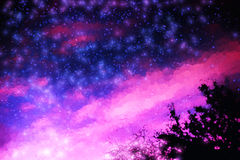Pink and purple night stars illustration background Stock Photo