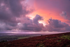 Pink purple orange sunrise at Caradon Hill, Cornwall, UK Royalty Free Stock Image