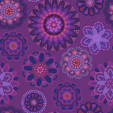 Pink and purple pattern with decorative flowers Stock Image