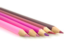 Pink and purple pencils Stock Image