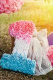 Pink and blue pompoms on the first birthday party outdoor. Pink and purple pompoms on birthday party Royalty Free Stock Photo