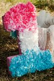 Pink and blue pompoms on the first birthday party outdoor. Pink and purple pompoms on birthday party Stock Image