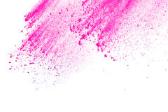 Pink-purple powder exploding. Abstract pink-purple powder splatted on white background,Freeze motion of pink-purple powder exploding on white background Royalty Free Stock Images