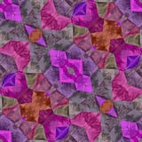 Pink and purple seamless kaleidoscope. And big ornaments stock illustration