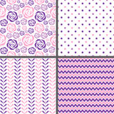 Pink & Purple Seamless Patterns Stock Photo