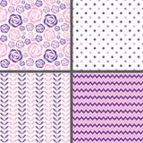 Pink & Purple Seamless Patterns Stock Photo