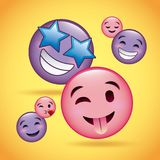 Pink and purple smiles emoji happy smiling love tongue out. Vector illustration Royalty Free Stock Photography