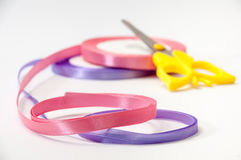 Pink and purple strip for tying bow and packaging Royalty Free Stock Images