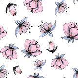 Pink and purple tender spring flowers and buds fashion print, floral seamless pattern on white background. Pink and blue tender spring flowers , floral seamless royalty free illustration
