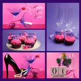 Pink and purple theme Happy New Year collage. With party theme martini cocktail and champagne glasses, masquerade masks cupcakes and calendar with party royalty free stock photography