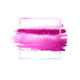 Pink, purple watercolor brush strokes with space for your own text. Wet brush stroke on paper texture. Dry brush strokes. Abstract composition for design stock illustration