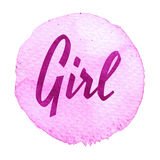 Pink, purple watercolor circle with word girl isolated on a white background. Stock Photo