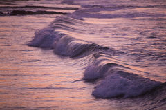 Pink purple waves during sunset in Mancora, Peru Stock Photo