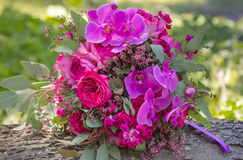 Pink and purple wedding bouquet Stock Photo