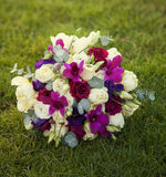 Pink and purple wedding bouquet Stock Images