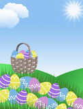 Pink purple yellow and blue easter eggs and basket with green grass hills. Blue sky and clouds background illustration with blue copy space Stock Image