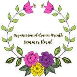 Vintage colorful line drawn floral wreath. stock photos