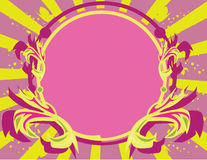 Pink purple yellow frame backg. Purple and yellow circular frame on a radiating background Royalty Free Stock Photo