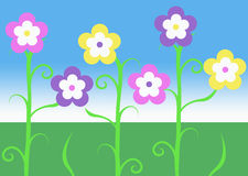Pink purple and yellow spring easter vine flowers illustration with green grass and blue sky background Royalty Free Stock Image