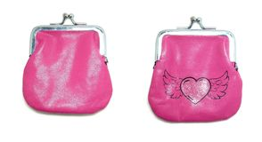 Pink purse. The front and back of a sparkly pink purse Royalty Free Stock Photo