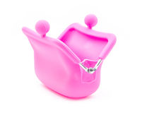 Pink purse. Pink silicon purse  on white background Royalty Free Stock Photography