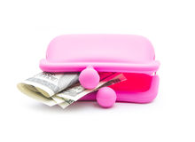 Pink purse. Pink silicon purse  on white background Royalty Free Stock Photos