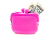 Pink purse. Pink silicon purse on white background stock image