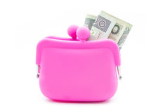 Pink purse. Pink silicon purse on white background stock photography