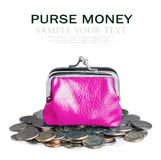 Pink purse and coins Stock Photo
