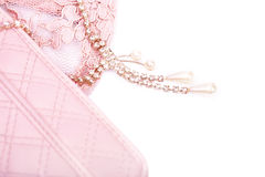 Pink purse and jewelry with crystals Stock Image