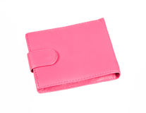 Pink purse with snap fastener. Isolated on white background royalty free stock photo