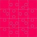 16 Pink Puzzle Pieces - JigSaw - Vector. 16 Pink Puzzle Pieces Arranged in a Square - JigSaw - Vector Illustration royalty free illustration