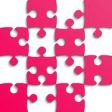 Pink Puzzle Pieces - JigSaw - Field for Chess. Stock Photo