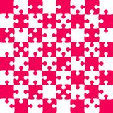 Pink Puzzle Pieces - JigSaw Vector - Field Chess. Pink Puzzle Pieces in a White Square - JigSaw - Vector Illustration. Vector Background. Field for Chess Royalty Free Stock Image