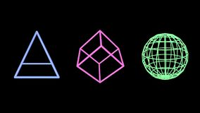Pink pyramid, blue cube and green sphere edges stock video
