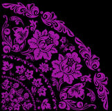 Pink quadrant with big flowers. Illustration with pink decoration on black background Stock Photo