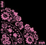 Pink quadrant with two big flowers. Illustration with pink decoration on black background Stock Photos