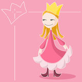 The Pink Queen. A little queen wearing a pink dress and a golden crown on a pink background. Illustration Royalty Free Stock Photography